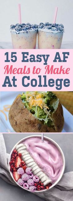 15 Easy AF Meals To Make At College. Easy AF Meals To Make At College! Feeling bored of the same residence hall food or too broke to afford anything else? These 15 easy AF meals to make at college got ya covered! Healthy College Meals, College Cooking, Cheap College Meals, Snacks For College, Student Snacks, College Drinks, Easy Healthy Recipes, Healthy Snacks, Cheap Recipes