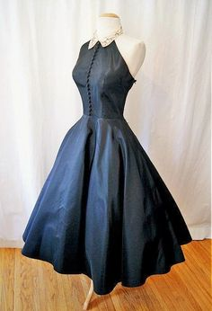 "Gorgeous 1950's ""Emma Domb"" new look halter black taffeta party dress with pale pink hand beaded collar"