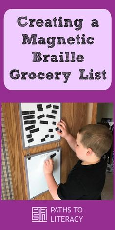 Create a magnetic braille grocery list to promote braille literacy, as well as independent living skills!