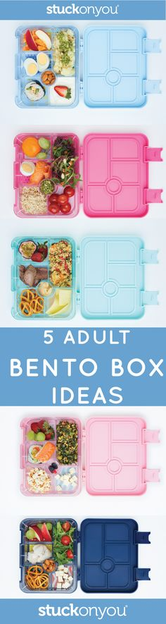 5 delicious and easy Adult Bento Box ideas. Mix and match your salads, couscous or any leftovers with fruit and snacks.  While Bento Boxes are great for children's school lunches, they're also perfect for adults who are busy but still want to be healthy. Putting together a Bento Box lunch in the morning is very quick and can help you portion control. With suggestions in the tray, you can fill it up with your protein, fruits, dairy, veggie and grain needs.