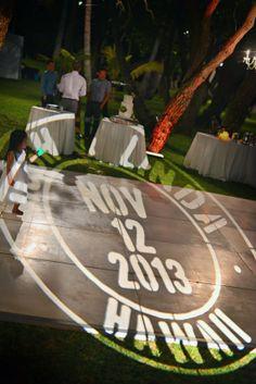 hawaii wedding - dance floor with wedding logo in lights