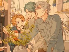 Zen, Yoosung, V, funny, laughing, shushing, kitchen; Mystic Messenger