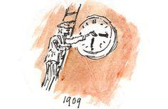 1 mei 1909  1 tijd voor heel Nederland  In de 19e eeuw had iedere plaats in Nederland haar eigen zonnetijd. Omdat de zon in het oosten opkomt, was het bijvoorbeeld in Nijmegen 10 minuten later dan in Rotterdam. Niet echt handig om de treinen op tijd te laten rijden.    Pogingen om tot een tijd te komen mislukten steeds. Door een fusie tussen 2 Nederlandse spoorwegmaatschappijen en door de toename van internationale treinen gold vanaf 1 mei 1909 overal in het land de Amsterdamse tijd.