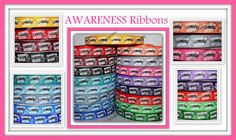 New 3 yards 7/8 CANCER AWARENESS Support by WhimsyRibbonShop Red Peach, Orange Grey, Pink Yellow, Purple, Blue, Awareness Ribbons, Cancer Awareness, Decoden, Ribbon Crafts
