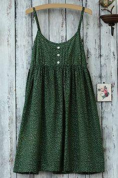 Spaghetti Strap Green Print Sleeveless Dress
