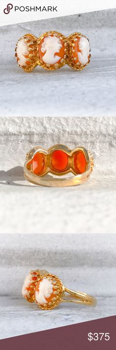 Antique 14k Gold Peach Coral Cameo Ring / 3 Muses Exquisite Victorian ring featuring three hand carved female heads, one right facing and two left facing, prong set in solid 14k gold with a solid 14k gold band.  The details are lovely and the ring is in excellent condition with no visible flaws.  Size 5 Weight 3.5 grams Vintage Jewelry Rings