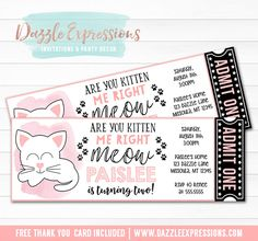 Printable Modern Kitten Ticket Birthday Invitation | Kitty Cat Party | Black, White and Pink Kitten Invite | Little Girls Party Idea | Cat Lover | Monochrome | Funny | Cupcake Toppers | Favor Tags | Food Labels | Banner | Party Package Decor Available!