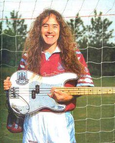 Fender Steve Harris P Bass in West Ham Colours - Andertons Music Co. Colors Serials, West Ham Fans, West Ham United Fc, Sir Alex Ferguson, Heavy Rock, Pearl Jam, Iron Maiden, East London, Gorgeous Men