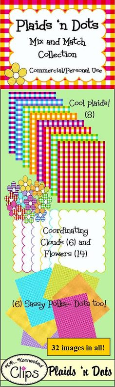 Plaids 'n Dots Mix and Match Collection Commercial Use Welcome http://www.teacherspayteachers.com/Product/Clip-art-Plaids-n-Dots-Collection-1-Papers-Frames-and-Flowers