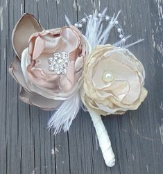 Fabric Flower Boutonniere-Grooms Boutonniere-Wedding Bout-Prom Bout on Etsy, $15.00
