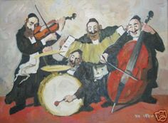 Jewish Israeli Art Adolf Adler.  The boys in the band.