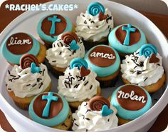 Elegant blue and brown cupcakes