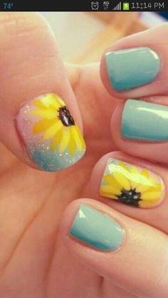 Sunflower Nail Art Design