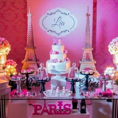 Paris birthday party Paris Themed Birthday Party, Birthday Party Themes, Tour Eiffel, Paris Sweet 16, Parisian Party, Spa Party, Holidays And Events, Party Planning, Bolo Fake