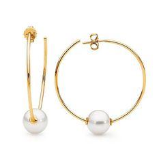 18ct yellow gold pearl hoop earrings