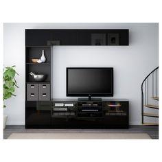 IKEA - BESTÅ TV storage combination/glass doors black-brown, Selsviken