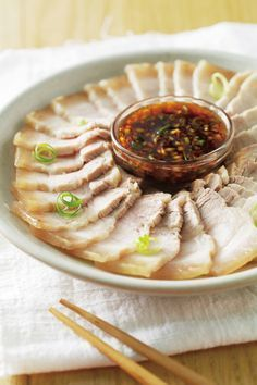 pork belly with garlic sauce {recipe in Chinese}