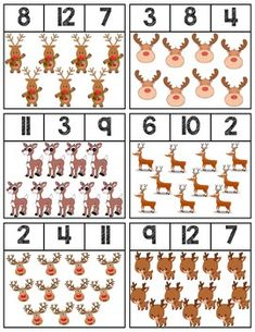 Clip cards featuring reindeer to help teach numbers Super easy prep, 18 cards total! Winter Crafts For Toddlers, Winter Activities, Christmas Activities, Toddler Crafts, Preschool Activities, Christmas Crafts, Preschool Prep, Christmas Tables, Nordic Christmas