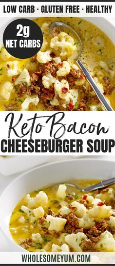 Jan 2020 - Easy Low Carb Bacon Cheeseburger Soup Recipe - This low carb bacon cheeseburger soup recipe is like comfort in a bowl. Takes just 20 minutes! Easy cheeseburger soup is naturally gluten-free, keto, and healthy, too. Low Carb Soup Recipes, Cheese Burger Soup Recipes, Keto Recipes, Healthy Recipes, Slimfast Recipes, Dinner Recipes, Casserole Recipes, Low Calorie Soups, Easy Recipes