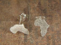 Silber Ohrstecker - Karte von Afrika Ohrringe Sterling Silber - ein Designerstück von AfricanDreamland bei DaWanda