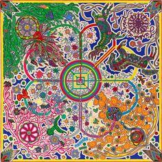 "L'Arbre du Vent Hermes cashmere and silk shawl, 55"" x 55"" (70% cashmere, 30% silk) Color : pink/green/multicolor Ref. : H242882S 14"