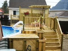 patio design piscine hors terre - Recherche Google Best Above Ground Pool, In Ground Pools, Backyard Pool Designs, Patio Design, Pool Deck Plans, Pool Shade, Pergola, Above Ground Pool Landscaping, Swimming Pools Backyard