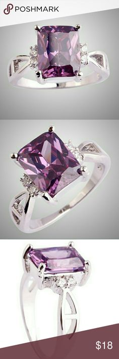 Ring amethyst 925 Sterling Silver plated. Ring amethyst 925 Sterling Silver plated. Sizes 8 and 9 available.  Stone:Amethyst; Stone Size: 10*8 mmApprox; Jewelry Rings