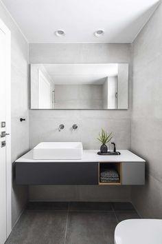 Inspiring industrial apartment located in Tel Aviv, Israel, designed in 2019 by Maya Sheinberger. Bathroom Interior, Modern Bathroom, Master Bathroom, Small Bathroom, Bathroom Ideas, Maya, Interior Exterior, Interior Design, Open Shelving Units