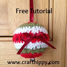 Free crochet tutorial for this cute Christmas Bauble - easy to follow with lots of pictures.  Make your own decorations or Christmas or as gifts.  www.crafthippy.com