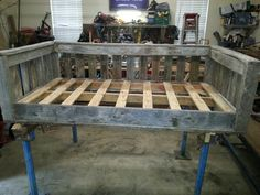 Daybed porch swing custom built with weathered barnwood!