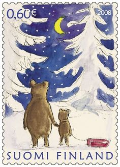 Suomi Finland Postcard of a Stamp from 2008 for Postmarked on Dec. 2008 with the matching stamp and one of animals around a Christmas tree