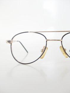 178366d692 Kids Wire Rim Aviator Eyeglasses Vintage 1980s Deadstock Glasses Eyeglass  Frames 80s Eighties Black Gold Metallic Eighties Glam Rocker