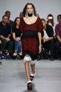 Proenza Schouler | Ready-to-Wear Spring Summer 2017 SS17 | Look 3 : hand-loomed fabrics in a red and black cloth where the black was actually woven ostrich feathers, the same feathers that formed a froth of fringe on the dress.