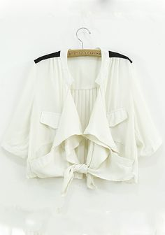 So CUTE! Perfect for Summer! Awesome Back Pleating! Off White Plain Ruffle Half Sleeve Loose Chiffon Coat #cute #Spring #Summer #fashion