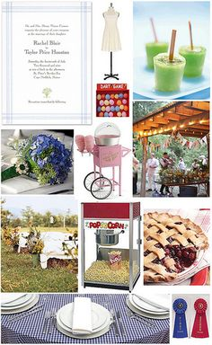 A Country Fair Wedding theme Picnic Table Covers, Country Fair Wedding, Fair Theme, Ceremony Seating, Fair Games, County Fair, Wedding Themes, Our Wedding, Party Themes