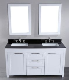 """I like this one!  $1494.99.  Seems to have all the elements we are looking for… one unhappy review.  Bosconi Contemporary 60"""" Double Bathroom Vanity Set with Mirror 