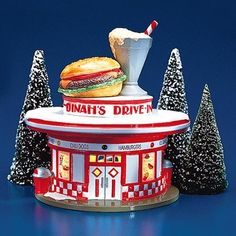 Dept 56 Original Snow Village Dinah's Drive-In Introduced December Includes cord and light Trees not included. Retired December Original box has a few dents. Department 56 Christmas Village, Dept 56 Snow Village, Christmas Village Display, Christmas Villages, Lemax Village, Village Houses, Christmas Houses, Christmas Balls, Christmas Fun