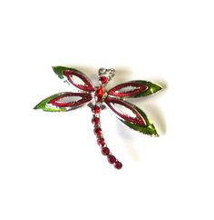 Magnet  Upcycled Brooch Silver Red and Green by TAKUniqueDesigns