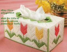 TULIP TISSUE BOX COVER~Plastic Canvas PATTERN                                                                                                                                                                                 More