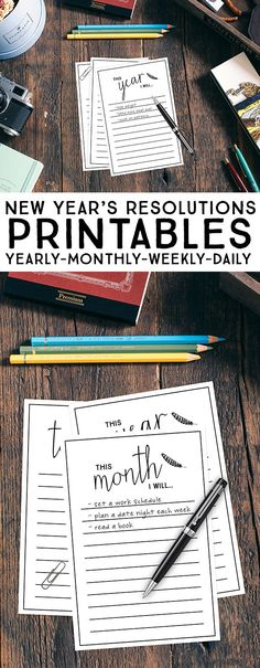 Awesome New Year's Resolutions Printables.  Whether you like to set goals yearly, monthly, weekly or daily -- these printables have you covered!  livelaughrowe.com