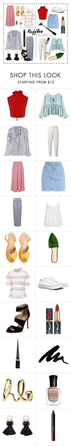 """Ruffles Four Ways"" by norbertheartselmo ❤ liked on Polyvore featuring SemSem, MaxMara, TIBI, Topshop, SPECIAL DAY, Charlotte Olympia, Converse, Carvela, Christian Louboutin and Chloé"