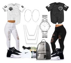 A fashion look from November 2015 featuring skinny leg jeans, white distressed jeans and rucksack bag. Browse and shop related looks. Swag Outfits For Girls, Cute Lazy Outfits, Casual School Outfits, Twin Outfits, Teenage Girl Outfits, Cute Casual Outfits, Teen Fashion Outfits, Teenager Outfits, Tumblr Outfits