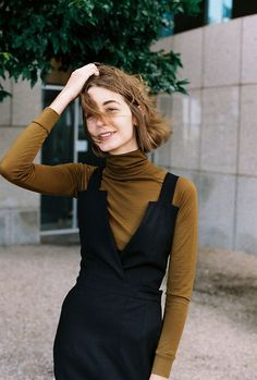 black dress and turtleneck