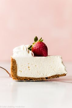 Creamy and smooth No Bake Cheesecake with a thick buttery graham cracker crust! This easy no bake cheesecake recipe only requires a handful of simple ingredients. sallysbakingaddiction.com