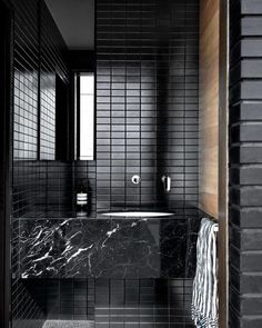 """STUDIO BLACK INTERIORS on Instagram: """"Black beauty. Black mosaic tiles, polished concrete and that concrete wall ☺️ (swipe left). A considered mix of materials and textures to…"""" Decor Interior Design, Interior Decorating, Interior Lighting, All White Room, Black Walls, Black Brick, Home Decor Trends, Modern Bathroom, Contemporary Bathrooms"""