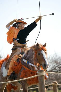 """Yabusame is a type of mounted archery in traditional Japanese archery. An archer on a running horse shoots three special """"turnip-headed"""" arrows successively at three wooden targets. This style of archery has its origins at  beginning of Kamakura period. Minamoto no Yoritomo became alarmed at the lack of archery skills his samurai had. He organized yabusame as a form of practice."""