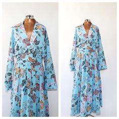 363fbb13cf41 Vintage 1960 s 70 s Hostess Dress Blue Floral Shirt Dress Size Small 1970s  Ethnic Print Sundress Boh