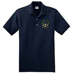 Personalized custom embroidered golf crest on polo shirt, mens x-large, navy blue