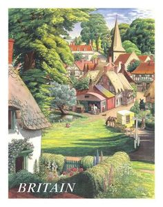 Gorgeously evocative travel poster for Britain - and its idyllic countryside, (artwork by S. [Stanley Roy] Badmin, an English painter and etcher particularly noted for his book illustrations and landscapes) 1950s Posters, Posters Uk, Retro Poster, Railway Posters, Vintage Travel Posters, Vintage Ads, French Vintage, Gravure Illustration, British Travel