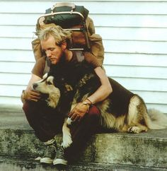 I believe the dogs name is Cooper and he along with his fella started on a hike across America in the 1970's